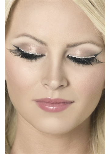 Black Fake Lashes with Silver Glitter Eyeliner