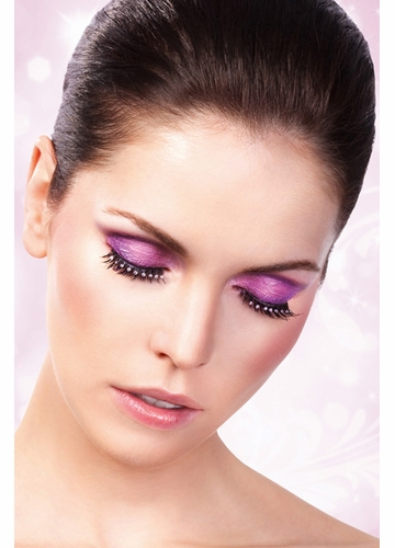 Black False Lashes with Clear Rhinestones