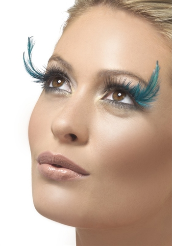 153ac8da782 Black False Lashes with Teal Feather Accents