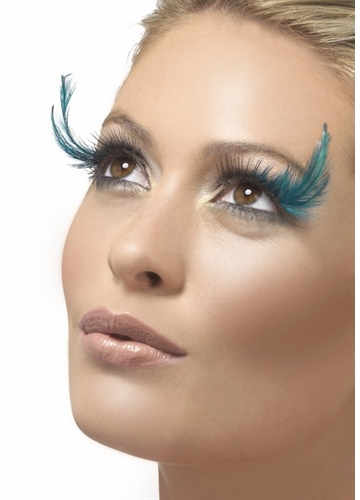 Black False Lashes with Teal Feather Accents
