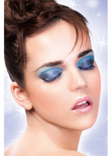 Black Lashes with Blue Crystals