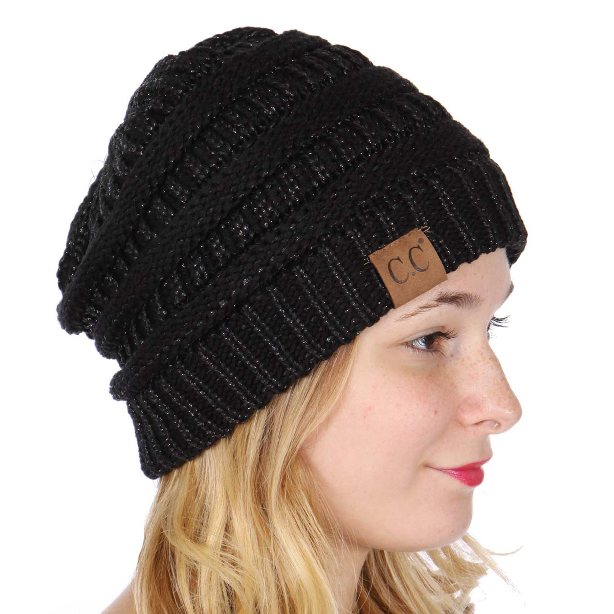 Black Metallic Yarn Knit CC Beanie Hat
