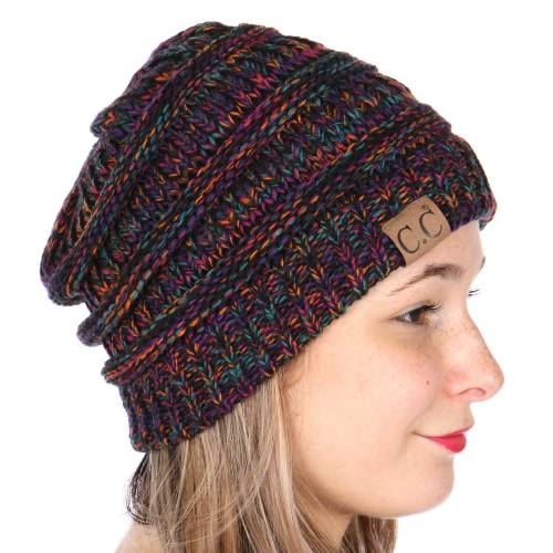 Black Multi Color Knit Cc Beanie Hats