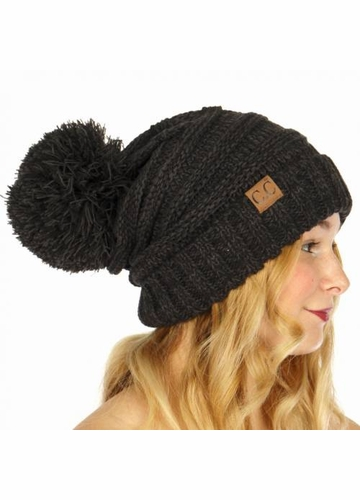 Black Multi Color Oversized Slouchy Beanie with Pom Pom e18b244d563