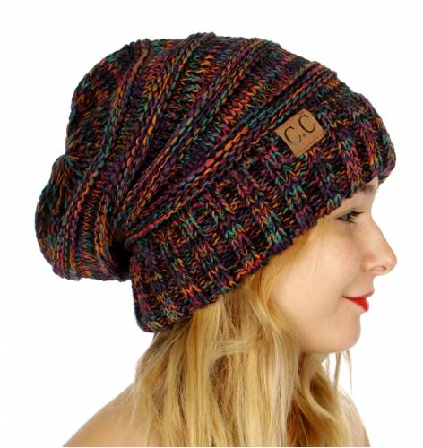 Black Rainbow Multi Color Slouchy CC Beanie Hat c2dddb247df