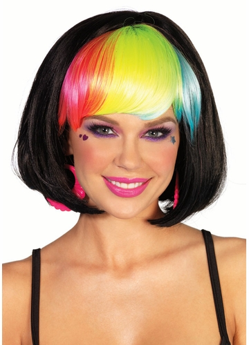 Black Rave Wig with Rainbow Bangs