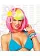 Black Rave Wig with Rainbow Bangs inset 1