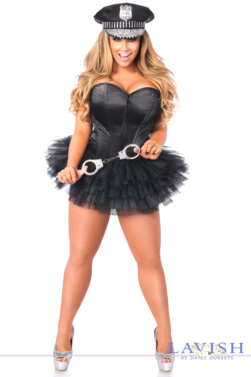 black satin cop police corset halloween costume