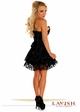 Black Satin Corset Dress with Lace Overlay inset 1