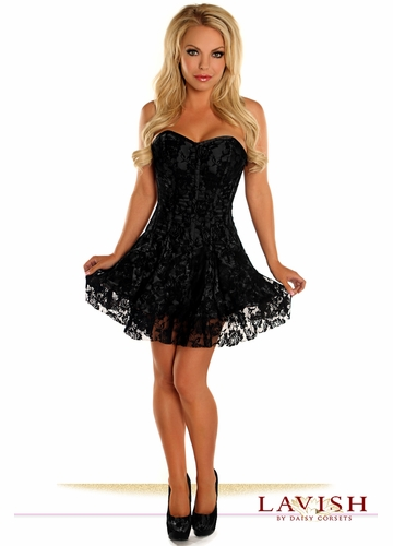 Black Satin Corset Dress with Lace Overlay