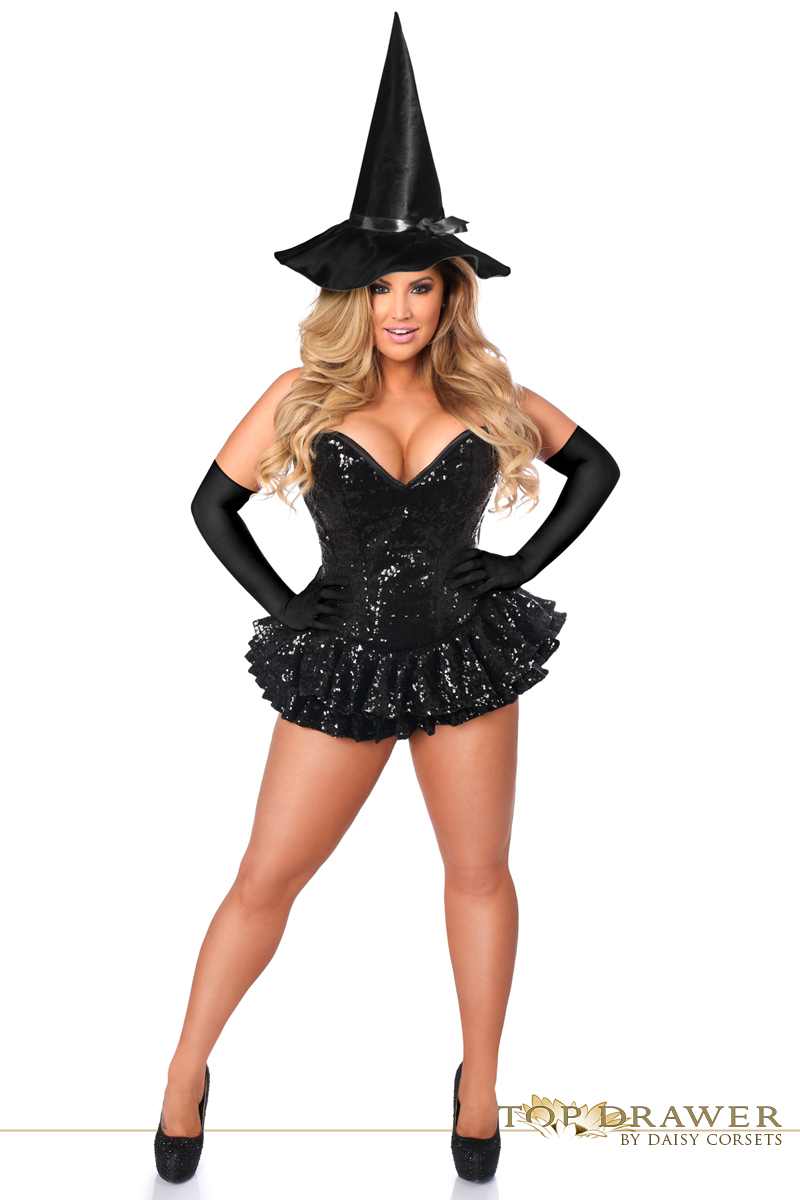 black sequin magic witch corset halloween costume
