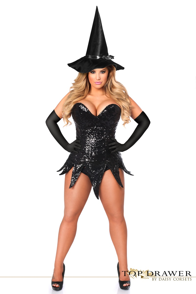 black sequin witch corset dress halloween costume
