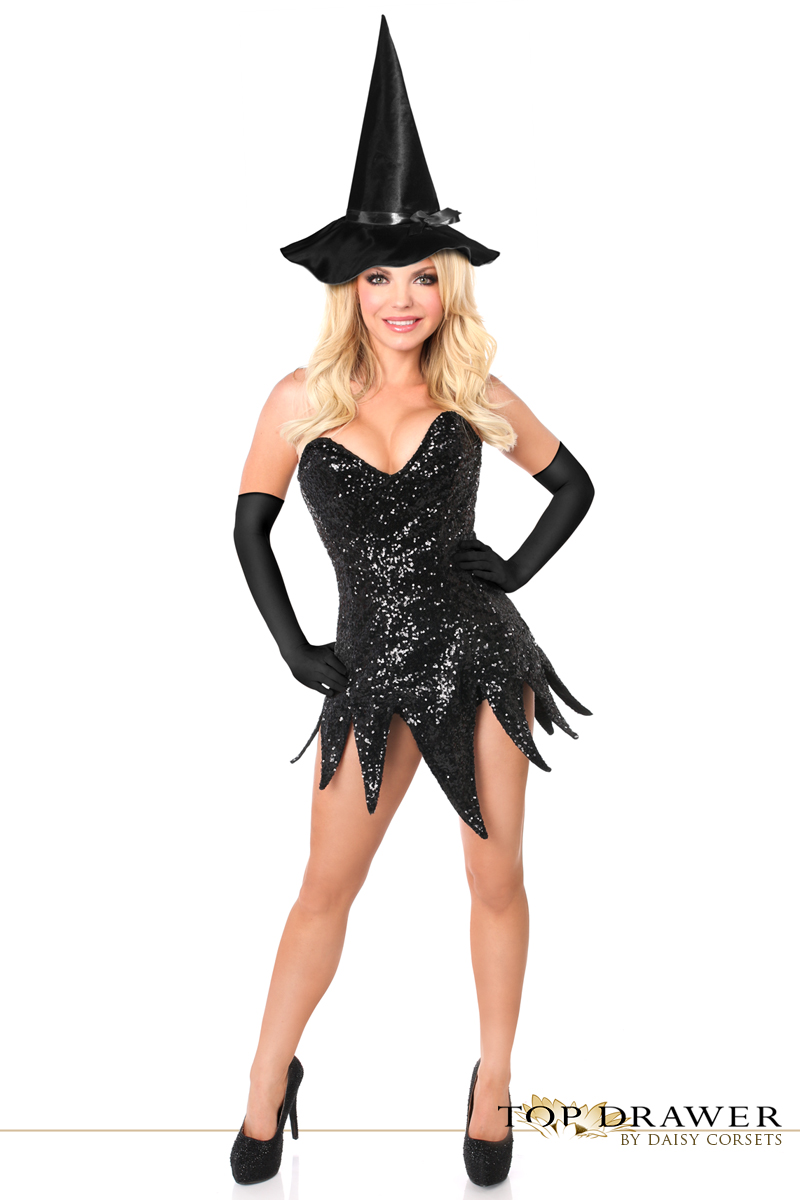 black sequin witch corset dress halloween costume inset 2 - Corsets Halloween Costumes