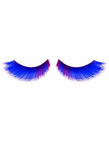 Blue False Eyelashes with Purple Corner