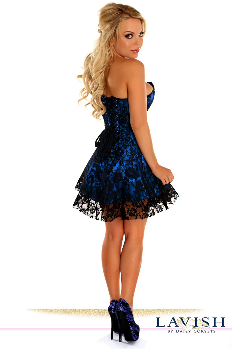 Blue Satin Corset Dress With Lace Overlay