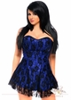 Blue Satin Corset Dress with Lace Overlay inset 2