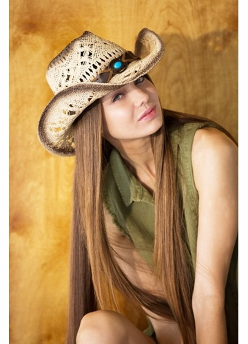 Braided Cowgirl Hat with Turquoise Band