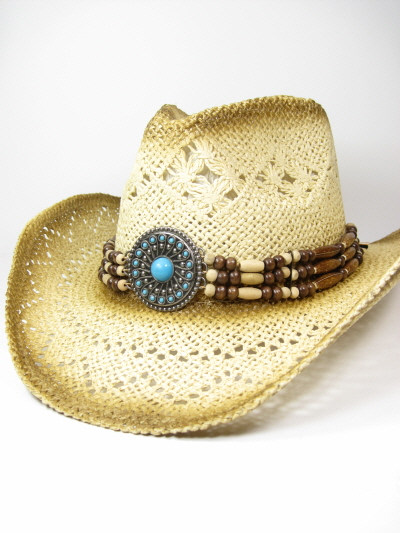 Braided Cowgirl Hat with Turquoise Conch d3b93b77bbe