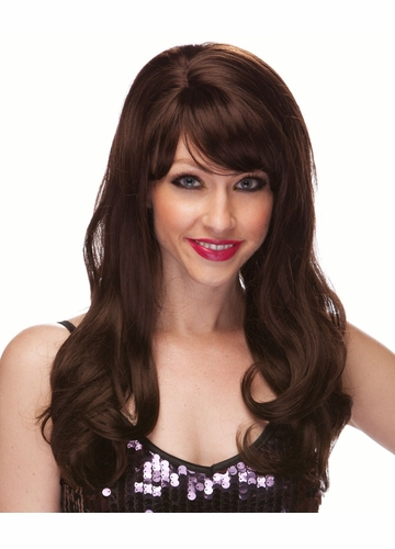 Brown Long Curly Burlesque Wig