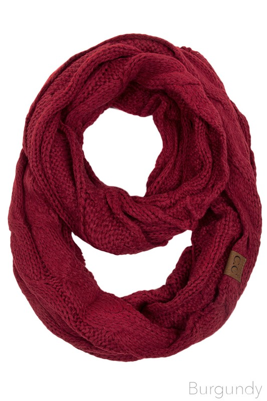 Burgundy Cc Brand Cable Knit Infinity Scarf