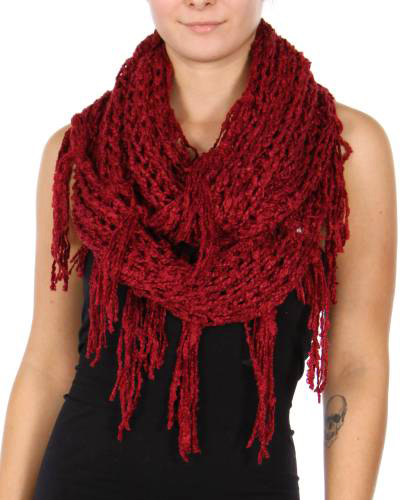 Burgundy Twisty Chenille Yarn Infinity CC Scarf with Fringe