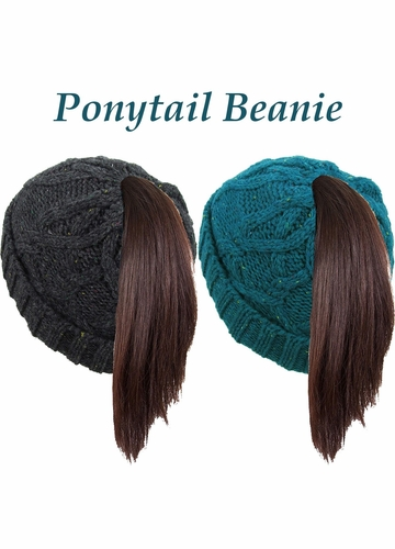 Cable Knit Ponytail Beanie