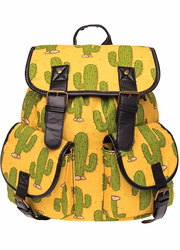 Cactus Print Canvas Backpack by Zohra