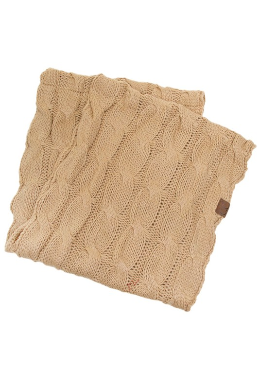Camel Cc Brand Cable Knit Infinity Scarf