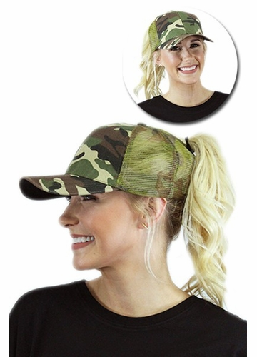 Camo Trucker Ponytail Hat with Mesh