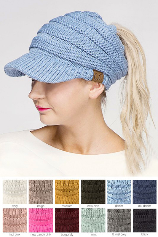 CC Beanie Hat with Brim and Ponytail Opening cf56b5fc421