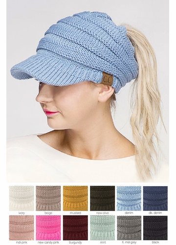 CC Beanie Hat with Brim and Ponytail Opening
