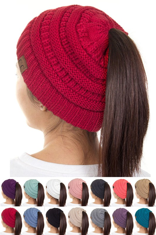 Cc Beanie Hat With Open Ponytail