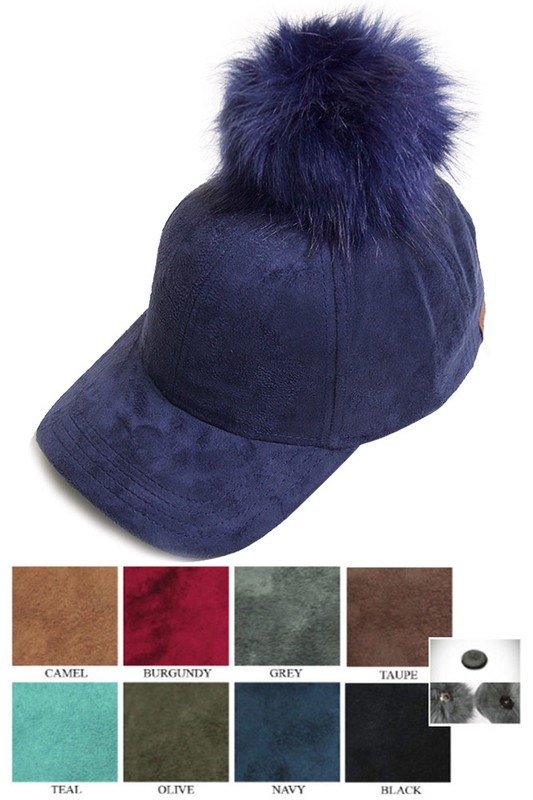 7076df16acd CC Brand Faux Suede Baseball Cap with Pom Pom inset 1 ...