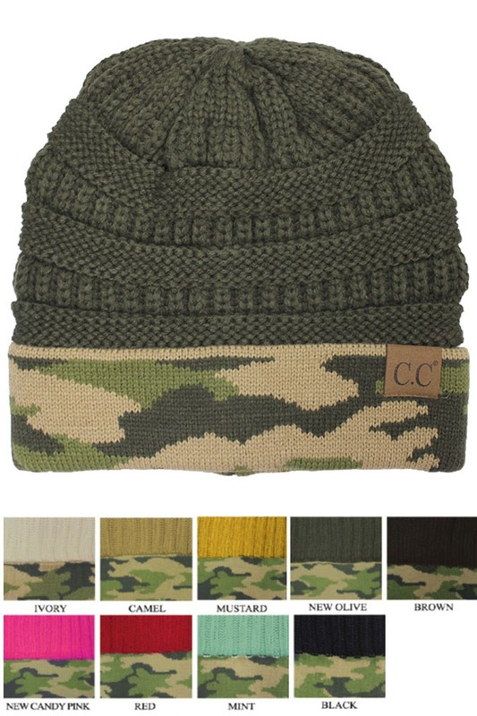 d142bc92f62 CC Knit Beanie Hat with Camouflage Cuff