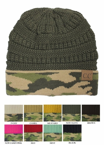 CC Knit Beanie Hat with Camouflage Cuff