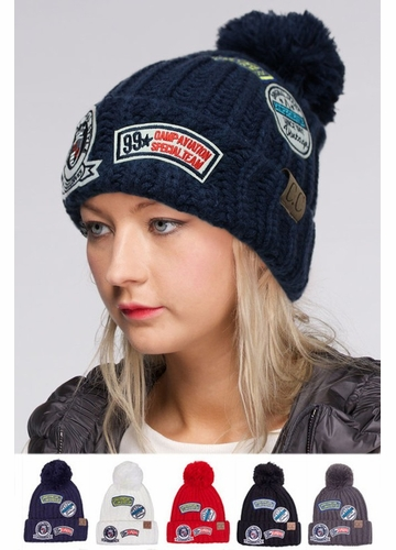 CC Knit Beanie Hat with Patches
