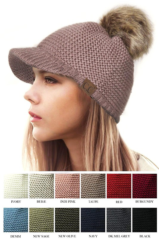 CC Knit Beanie Hats with Brim and Pom Pom 7aa8396d277
