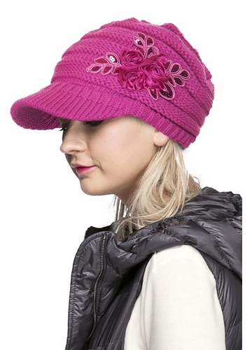 CC Knit Hat with Brim and Flower Applique