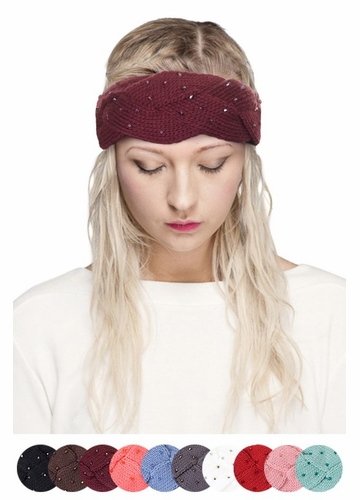 CC Knit Headband with Crystals
