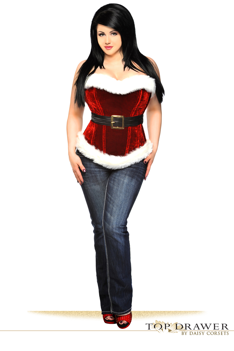 Christmas Red Velvet Corset With White Fur Trim