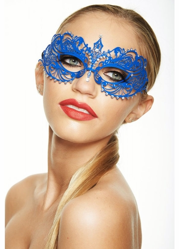 Colorful Angel Masquerade Mask with Clear Crystals