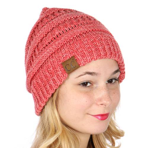 Coral And Salmon Pink Two Tone CC Beanie Hat