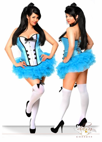 Corset Alice in Wonderland Costume Includes Pettiskirt, Bow, Stockings