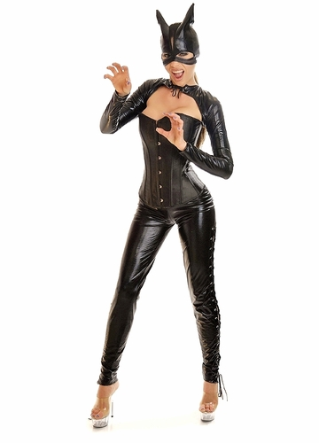 Corset Cat Woman Costume with Pants, Mask and Shrug