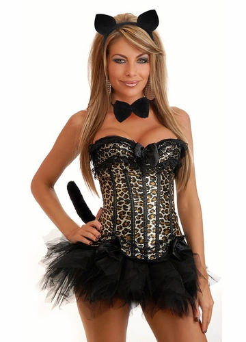 Corset Leopard Kitty Costume with Ears, Choker, Tail and Skirt