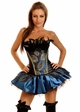 Corset Peacock Pin-Up Showgirl Costume with Skirt and Thong inset 1