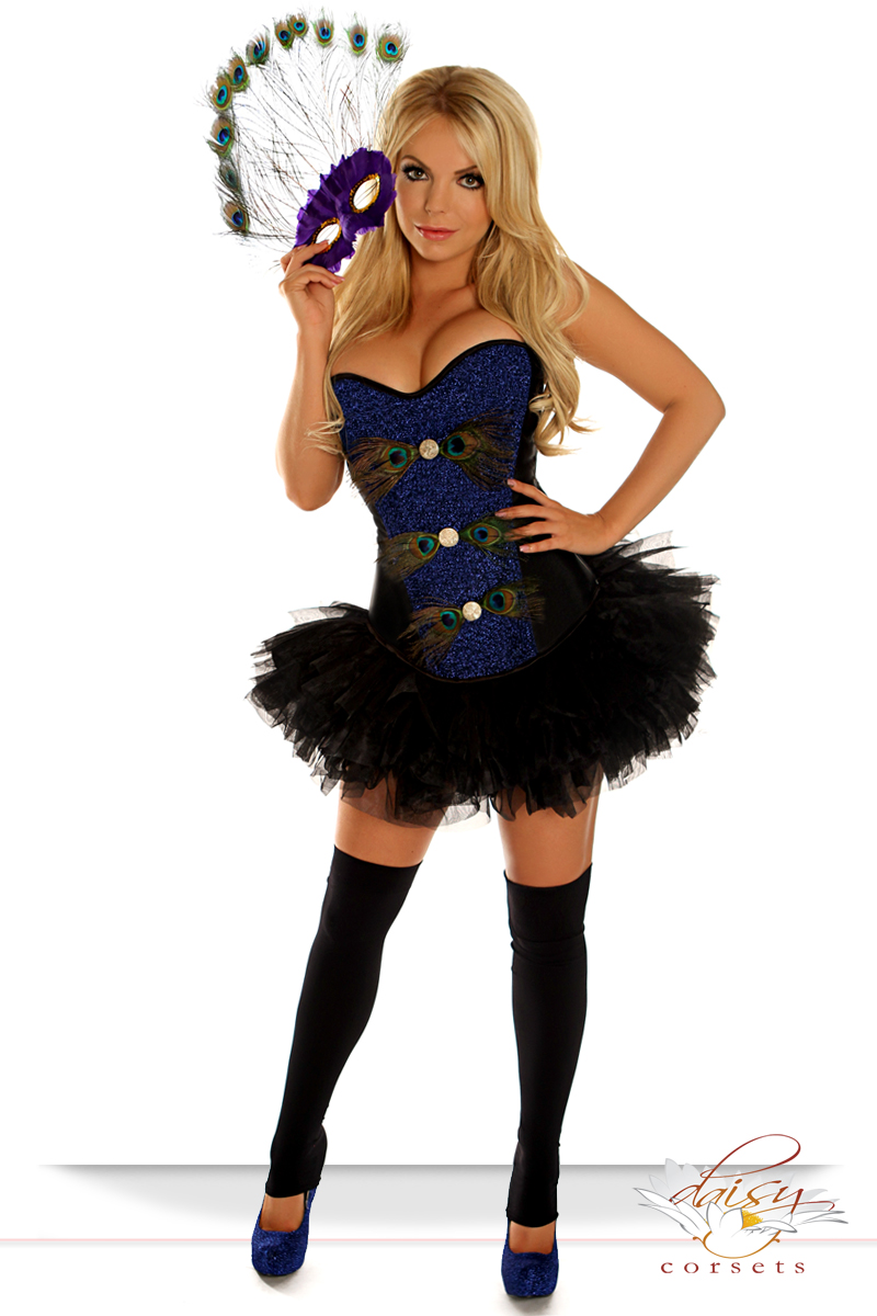 Corset Peacock Showgirl Costume With Mask And Skirt