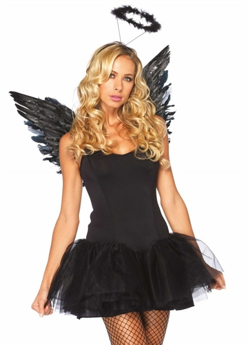 Costumes-Angel Costume Kit with Wings and Halo in Black or White