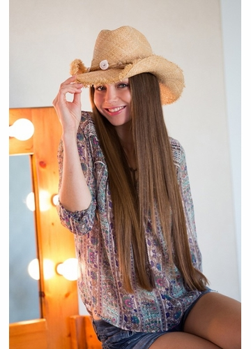 Cowgirl Hat with Frayed Edge