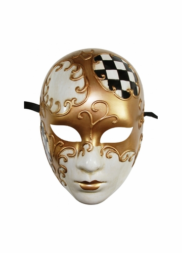 Creepy Doll Mask with Gold Swirl